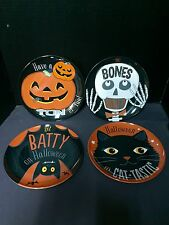 Pottery Barn Kids HALLOWEEN Set 4 PLATE Table Party Cat BAT Skeleton Pumpkin NEW