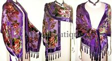 Silk Velvet Wrap Scarf Shawl Purple English Rose Beaded Maya Matazaro