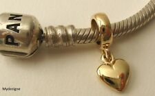 GENUINE  SOLID  9K  9ct  YELLOW  GOLD  CHARM  BEAD  with 3D  LOVE HEART DROP