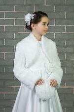New Flower Girls First Holy Communion Faux Fur Bolero Jacket Shrug Age 2-13