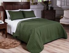 Fancy Linen 3pc Queen and King Quilted Bedspread Embroidery Sage Pre-Washed New