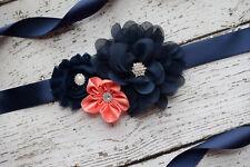 Flower Sash, navy coral Sash,#2  , flower Belt, maternity sash, wedding sash