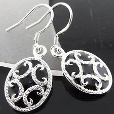 FSA103 REAL 925 STERLING SILVER S/F ANTIQUE ONYX HOOK DROP DANGLE EARRINGS