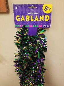 "Mardi Gras Purple green and gold 3"" X 9' Garland, Mardi Gras Garland, Garland"