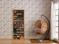 3D Bookcase Design Self-adhesive Door Sticker Decal Bedroom Wallpaper Mural