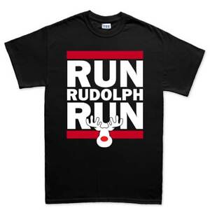 Run Rudolph Xmas Christmas Gift New dmc Mens T shirt Tee Top T-shirt