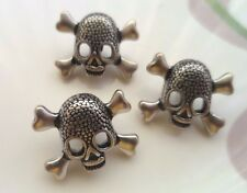 12pcs Metal Jeans Button Day Of The Dead Sugar Skull Cross Antiqued Silver Black