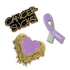 PinMart's Purple Cancer Awareness Heart Ribbon Enamel Lapel Pin Set