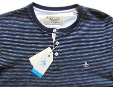 Men's PENGUIN Navy Blue White Striped Henley Shirt XXL XX-Large NWT NEW Awesome!