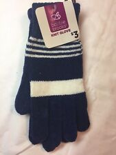 Bobbie Brooks Knit Gloves NWT 1 pair Blue/White Stripe Soft Acrylic Blend