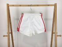 VTG Augusta Sportswear White Red Striped Trim 50/50 Gym Elastic Shorts S USA