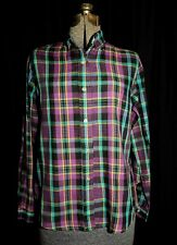 Vtg 70's Lady Donlin Plaid Cotton Blouse Shirt Size Sm Jewel Tones Long Sleeve