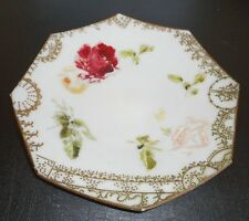 "VICTORIAN circa 1900 Milk Glass 8 Side Octagon Hand Painted Plate 12"" Diameter"