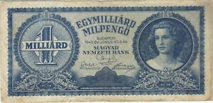1946 1 ONE QUADRILLION PENGO HUNGARY CURRENCY BANKNOTE NOTE MONEY BANK BILL CASH