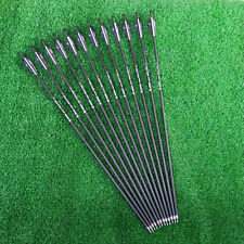 "12pcs 28"" Carbon Arrows 2.95"" Feather Spine 500 Compound/Recurve Bows Hunting"
