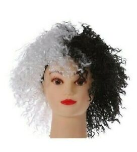 Cruella Perruque Villain Costume Déguisement Accessoire Adultes Enfants Cheveux