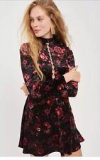 Topshop Velvet Floral Lace Up Back Skater Dress Uk 12