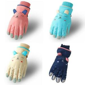 Kids Winter Waterproof Snow Gloves Cartoon Ears Thermal Insulated Ski Mittens