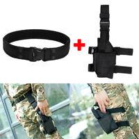 """Tactical 2"""" Nylon Duty Belt + Left Right Hand Pistol Gun Drop Leg Thigh Holster"""