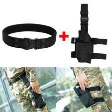 "Tactical 2"" Nylon Duty Belt + Left Hand Pistol Gun Drop Leg Thigh Holster Black"