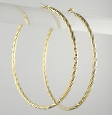 Big Hoop Gold Tone Earring Pierced Women / Teenager