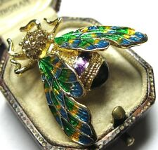 Gorgeous Vintage Style BEE Insect Pretty Enamel Crystal Jewellery BROOCH Pin