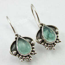 925 Pure Silver Original GREEN APATITE HOOK Earrings FASHIONABLE Jewelry 2.5 CM