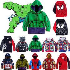 Boys Kids Toddler Marvel Superhero Sweatshirt Zipper Hoodies Clothes Jacket Coat