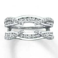 1/4 Ct D/VVS1 Diamond 14k White Gold Fn Enhancer Wrap Guard Wedding Band Ring