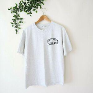 1990s Champion University Of Maryland Short Sleeve Crew Neck Shirt L Large Gray