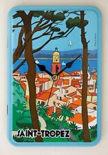 NEW 19cm French Tin Wall Clock - Metal St Tropez Vintage Advert Cartoon Modern