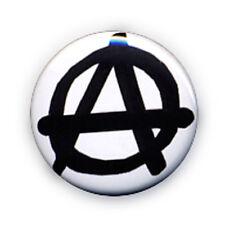 Badge A ANARCHIST ANARCHY Noir / BLANC anar anarchie anarchiste rock punk Ø25mm
