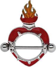 Brustpiercing Schild farbiges Herz mit Flammen Krone und Stahlstab, Größe 14mm