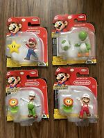Super Mario Lot of 4 Figures - Mario, Fire Flower Mario Luigi & Yoshi Jakks New