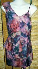 TOPSHOP Ladies One Shoulder Orange Black & Purple Peplum Dress Size 8