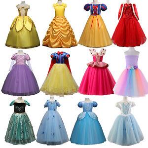 Princess Belle Cinderella Costume Party Gown Dress Girls Child Swing Dress