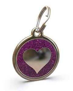 Pet Dog Cat ID Engraved Name Tag Personalized Steel Purple Glitter Heart