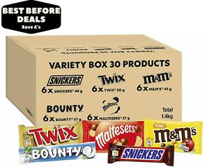 Mars Mixed Chocolate Bar Variety Bulk Box - 30 Bars - M&M's, Snickers, Twix...