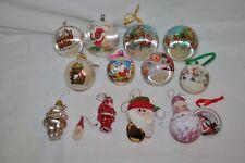 14 ASSORTED SANTA  CHRISTMAS ORNAMENT  SATIN GLASS KISSING ELVES RETRO EUC
