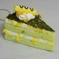 "Green Cake White Icing Yellow Wafer Ornament Birthday Dessert Christmas 3"""