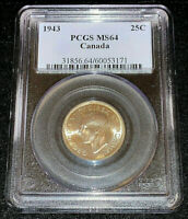 1943 Canada Twenty Five Cents Silver • PCGS MS64