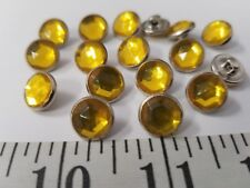 VINTAGE BUTTONS SET OF 12 YELLOW GLASS METAL SILVER JAPAN TUZ2804