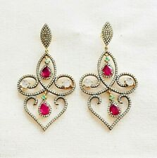 Extraordinaire Handcrafted Topaz,Ruby & Rose Cut Diamond Sterling Silver Earring