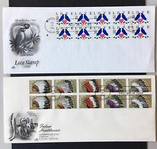2 FDC covers 1990 with panes of 10 Love stamp and Indian headdresses, cachets