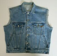 Original Vintage Jordache JeansWear Blue Denim Trucker Biker Frayed Vest Mens S