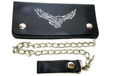 New Genuine Leather Bi Fold Chain Wallet Flying Eagle Trucker Black Money Holder