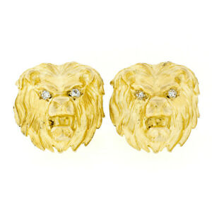 Vintage 14k Yellow Gold Large Detailed Diamond Eye Lion Head Swivel Cuff links