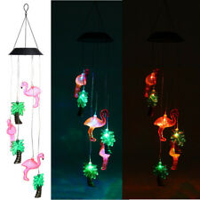 Flamingo Led Color-Changing Power Solar Wind Chimes Yard Home Garden Decor Us