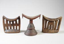 Three Ethiopian Headrests 1 Oromo & 2 Kambatta Headrests Estate Thomas McNemar