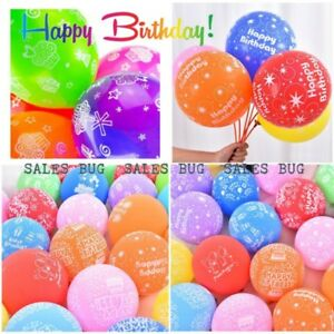 10X Printed Happy Birthday Latex Balloons Assorted Colours Adults Children Party